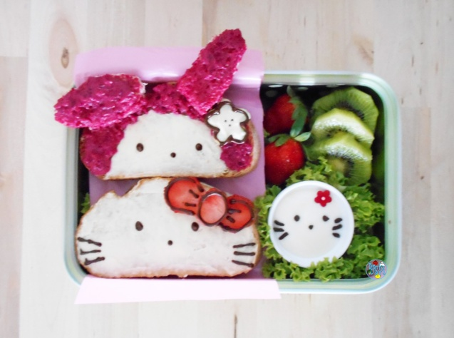 Hello Kitty and My Melody sandwich bento