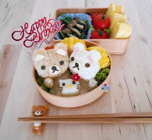 Rilakkuma and Hello Kitty Cake Birthday Bento