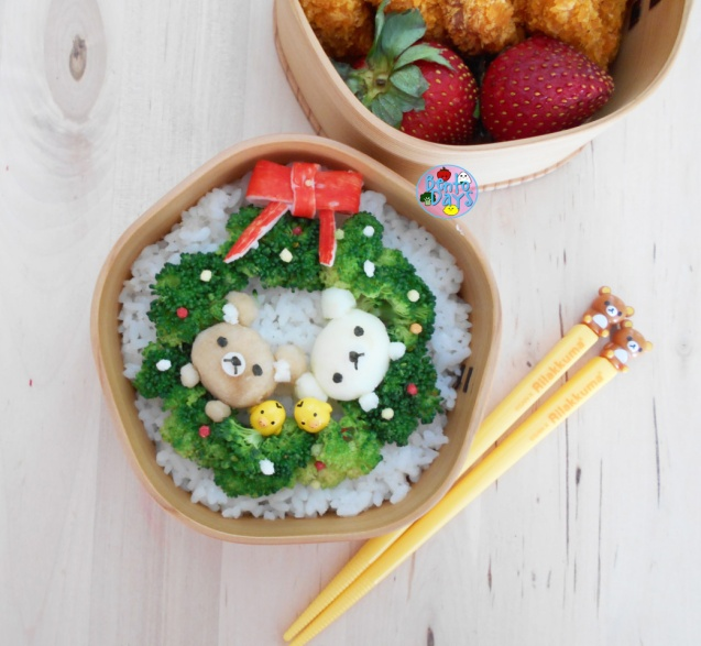 Rilakkuma Christmas Wreath Bento