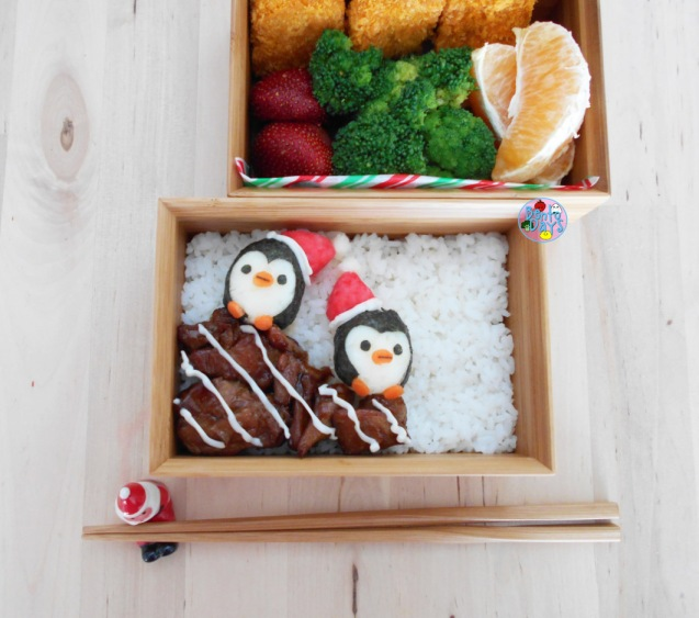 Winter penguins bento