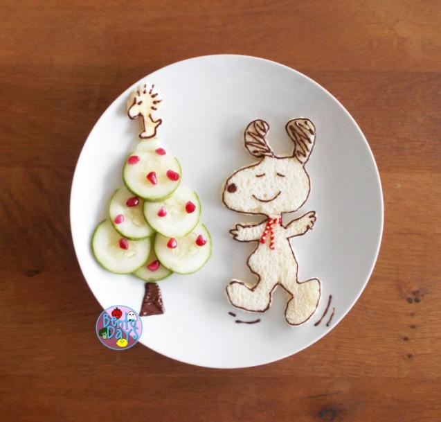 Snoopy Christmas tree bento