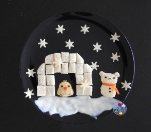 Rilakkuma Snowman and Igloo Winter Food Art