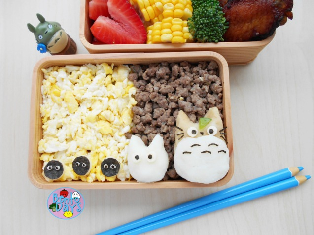 Totoro Egg and Meat Soboro bento