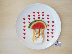 Totoro Valentines Day food art and bento