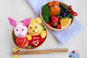 Winnie the Pooh and Piglet Valentines Day bento