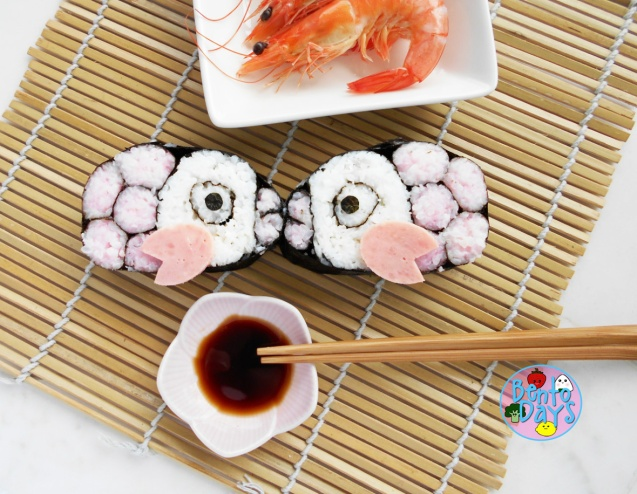 Kissing fish sushi for Valentines Day bento