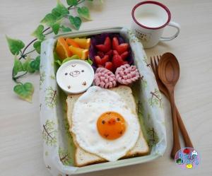 Kiiroitori chick fried egg bento