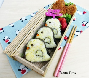 Easter chick sushi bento