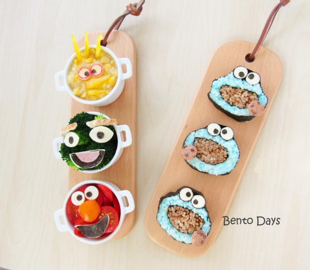 Cookie Monster Sushi and Sesame Street Bento