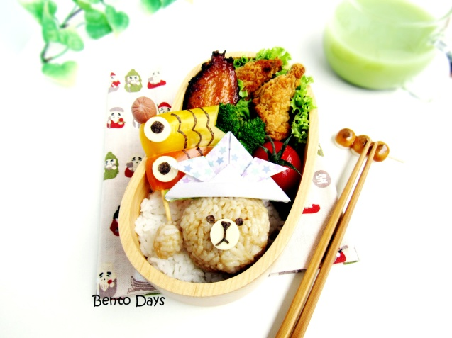 Brown bear Children's Day koinobori bento