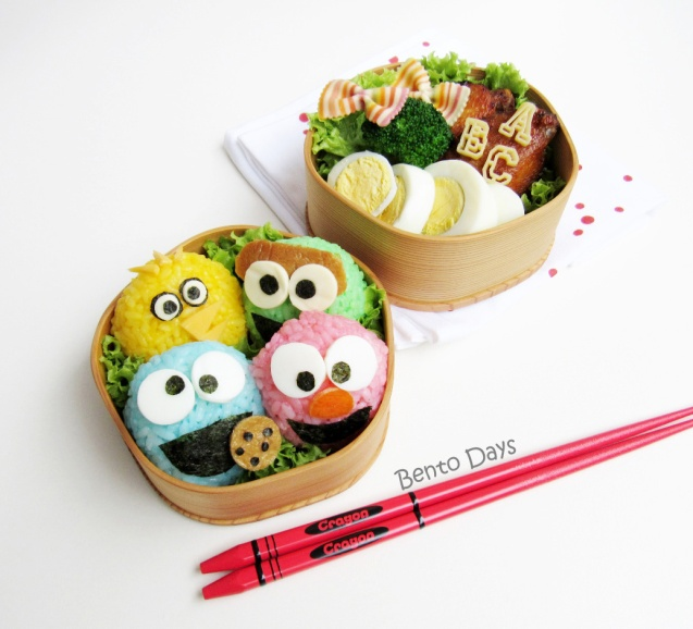 Sesame Street Cookie Monster and Elmo Bento