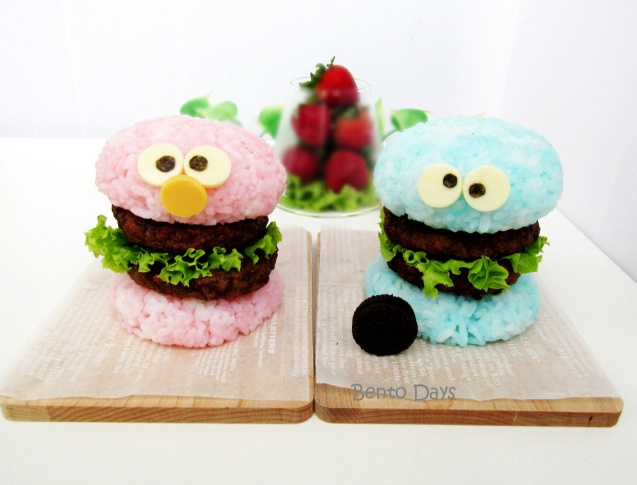 Cookie Monster and Elmo rice burgers bento