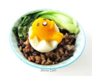 Gudetama bento with Taiwanese braised pork rice (Lu Rou Fan)
