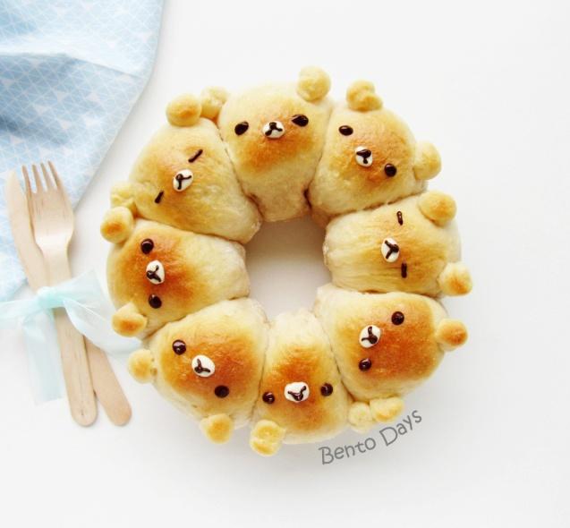 Rilakkuma pull-apart bread bun recipe
