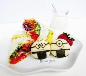 Rainbow veggie wraps with Minions Babybel cheese