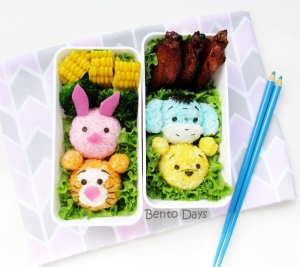 Tsum Tsum Pooh, Piglet, Tigger, Eeyore lunch bento