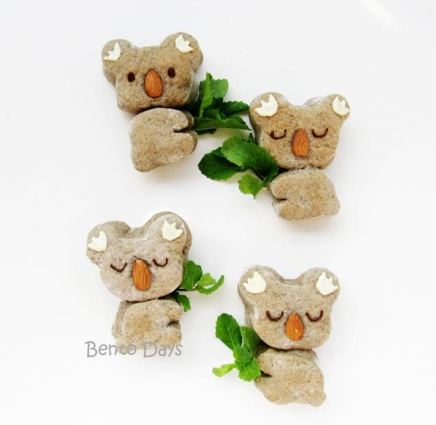 Black sesame koala bear bread buns