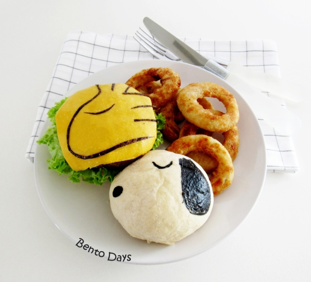 Snoopy and Woodstock burger