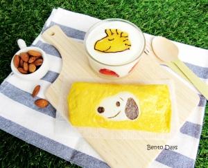 Snoopy omelette brunch menu