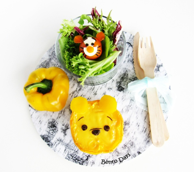 Pooh baked egg cup and Tigger salad
