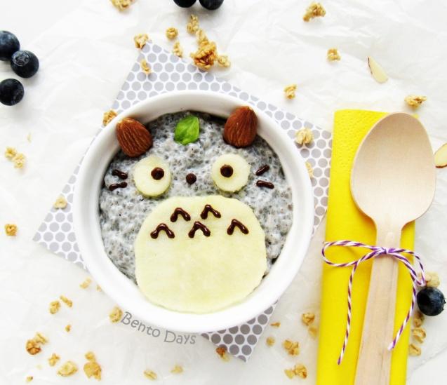 Totoro chia seed pudding bento