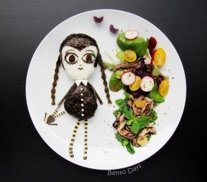 Wednesday Addams Halloween bento