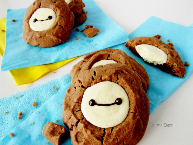 Baymax cream cheese thumbprint chocolate cookies