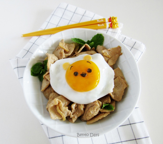 Pooh fried egg with stir fried pork decomeal