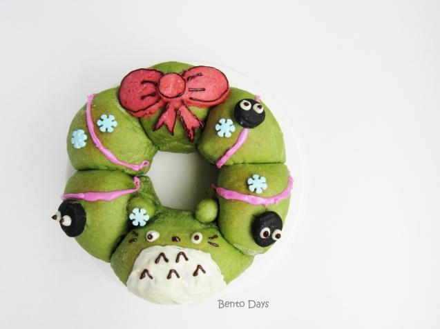 Totoro Christmas Pull-Apart Bread Wreath
