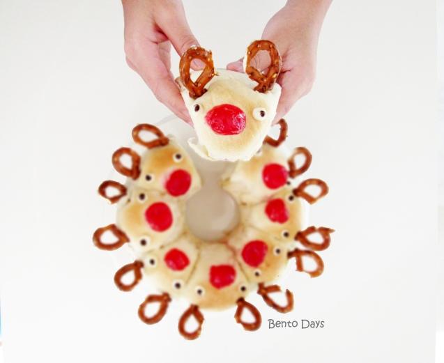 reindeer pull-apart bread buns