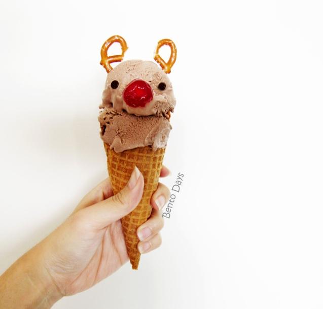 Rudolph the reindeer ice cream cone