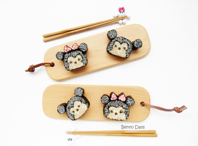 Mickey and Minnie tsum tsum sushi rolls