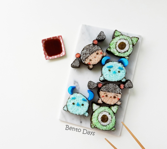 Monsters Inc tsum tsum deco sushi roll
