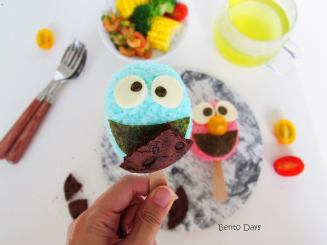 Cookie Monster rice popsicles bento